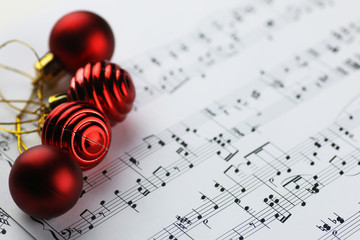 notes and Christmas balls