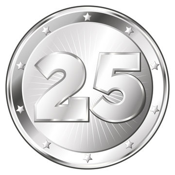 Twenty-Five Year Anniversary - Round Silver Badge