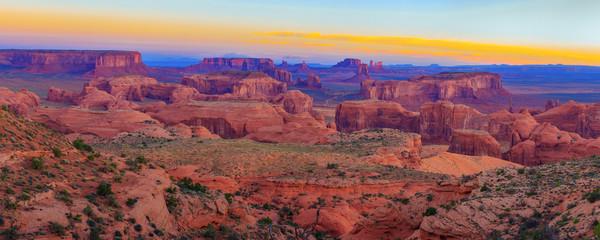 Fototapete - Sunrise at Hunts Mesa panorama