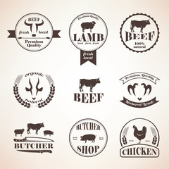 butcher retro emblems and labels set,  design elements and templ