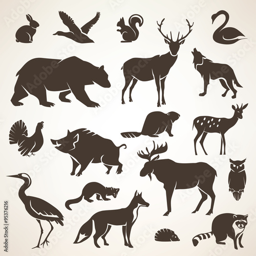 Wall mural european forrest wild animals collection of stylized vector silh