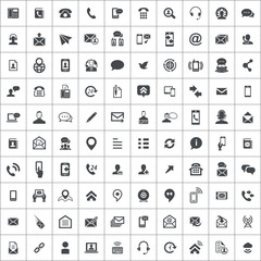 contact us 100 icons universal set