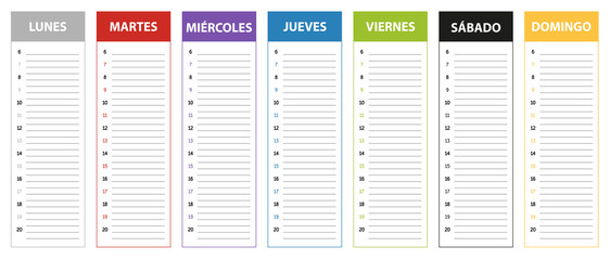 Spanish week planning calendar in colors of the day