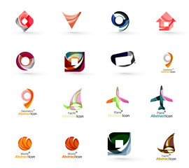 Set of abstract travel logo icons. Business, app or internet web symbols