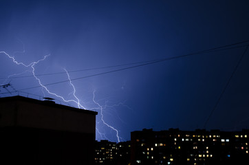 lightning in the urban residential area