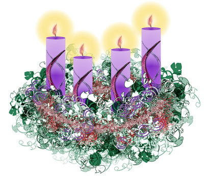 Decorated floral Advent wreath with four advent candles burning,