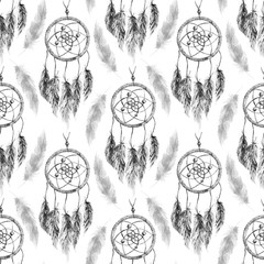 Watercolor ethnic tribal hand made black and white monochrome feather dream catcher seamless pattern texture background