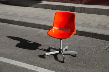 Office chair on the street