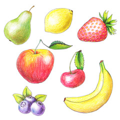 Fruits drawn by color pencils