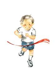 走る男の子、徒競走
