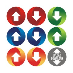 Download And Upload Buttons Circle Design Icon. download, upload icons with arrow in circle, vector illustration