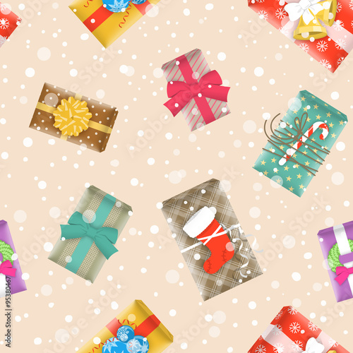 Christmas Gift Wrapper Design.Christmas Gifts Festive Seamless Background Vector Pattern
