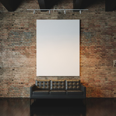 Photo of empty  canvas on the bricks wall background. 3d render