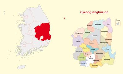 south korea north gyeongsang province map