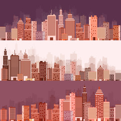 Vector illustration. Set of city silhouettes. Cityscape. Town skyline. Panorama. Midtown houses. Skyscrapers