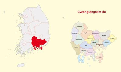 south korea south gyeongsang province map