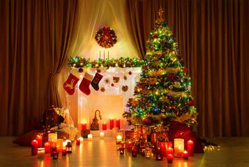 Christmas Tree in Room, Xmas Home Night Interior Fireplace Light