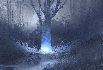 night scene of spooky forest with swamp,illustration painting