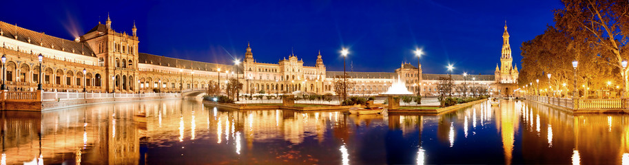 Evening view of Plaza de Espana. Seville, Spain