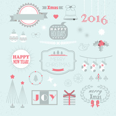 Christmas and New Year design elements set on blue background