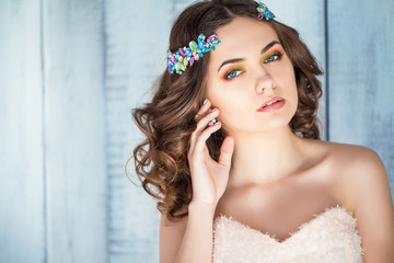 beautiful luxurious woman with decoration on the head