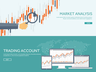 Vector illustration. Flat background. Market trade. Trading platform ,account. Moneymaking,business. Analysis. Investing