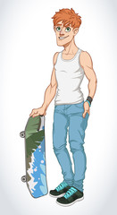 Vector Illustration of Cartoon Boy Skateboarder