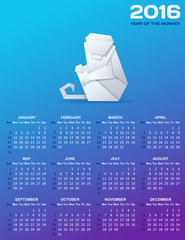Calendar for 2016 with a paper monkey. White origami monkey and white calendar grid on blue background