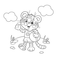 Coloring Page Outline Of a little tiger with a ball