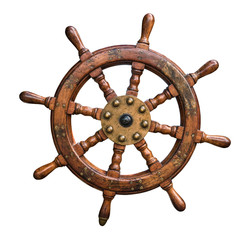 Foto auf AluDibond Schiff Isolated Ships Wheel