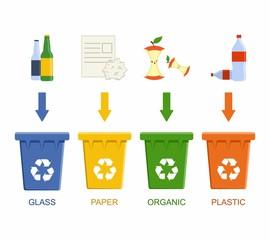 Separation recycling bins. Waste segregation management concept.