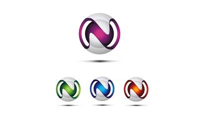 letter N 3d modern logo