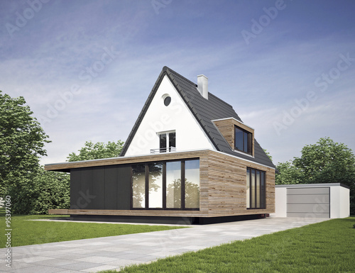 Haus Modernisiert Mit Anbau Stock Photo And Royalty Free Images On