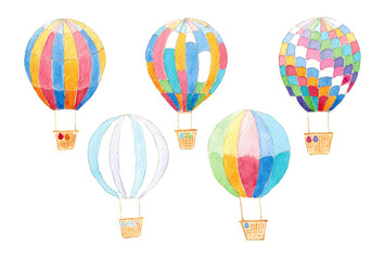 Watercolor Isolated air balloons set