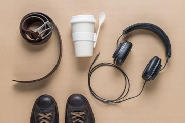 Cup, belt, earphones