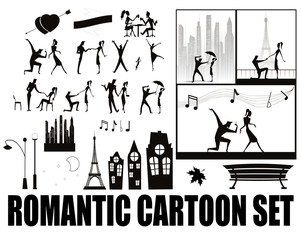 silhouette on cartoons in love