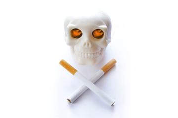 smoking kills vintage human skull with burning lighted eyes and