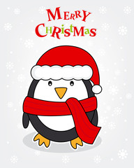 Merry Christmas card. Penguin