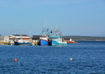 group of fishing vessels anchored at the pier at Frenchman's Cove, Newfoundland Canada
