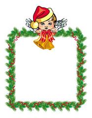 Holiday Christmas frame with angel