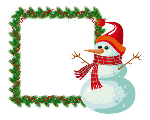 Holiday Christmas frame with snowman