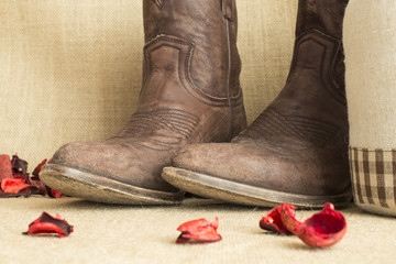 toes of brown cowboy boots in vintage background