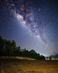 milky way rise above dried land