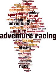 Adventure racing word cloud concept. Vector illustration