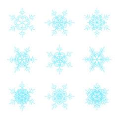 Blue vector snowflakes doodle design