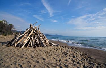 spiaggia con capanna di legno secco