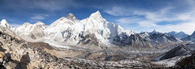 Mount Everest with beautiful sky and Khumbu Glacier