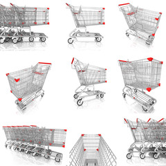 collection of shopping cart isolated on white,3d rendering