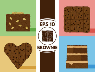Flat brownie collection eps10