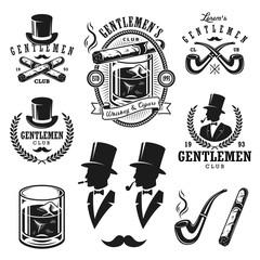 Set of vintage gentlemen emblems and elements.